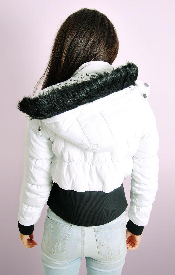 White Hooded Bomber Padded Jacket
